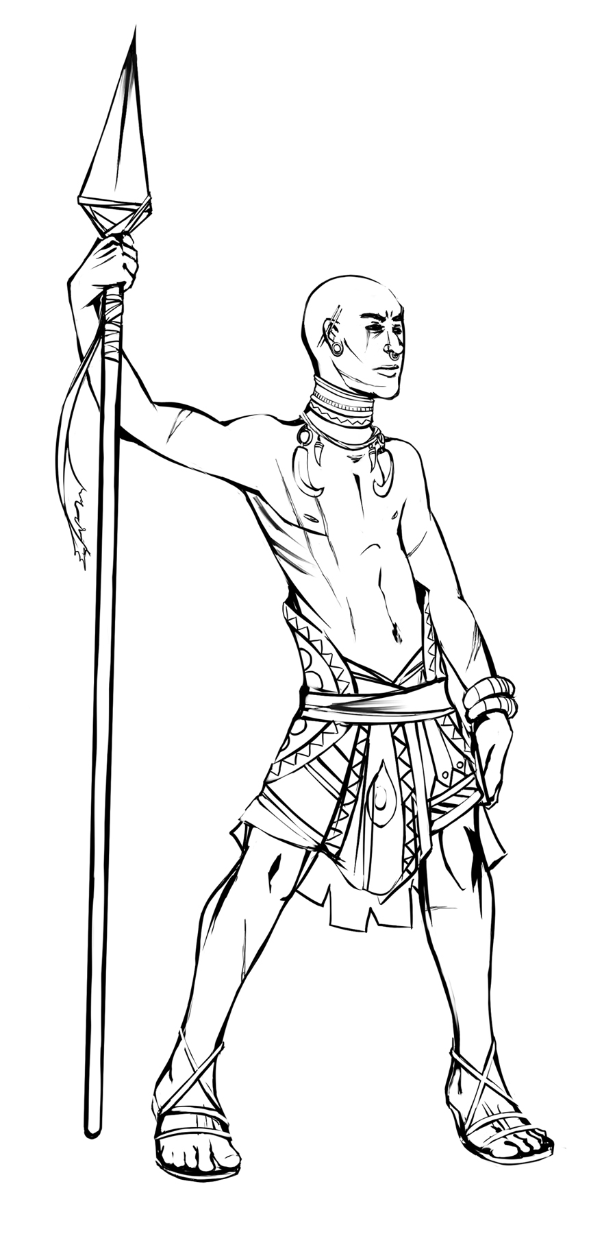 Rhamka Tribal Warrior - Inicial Sketches